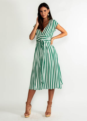 Let Live Midi Dress - Green Stripe