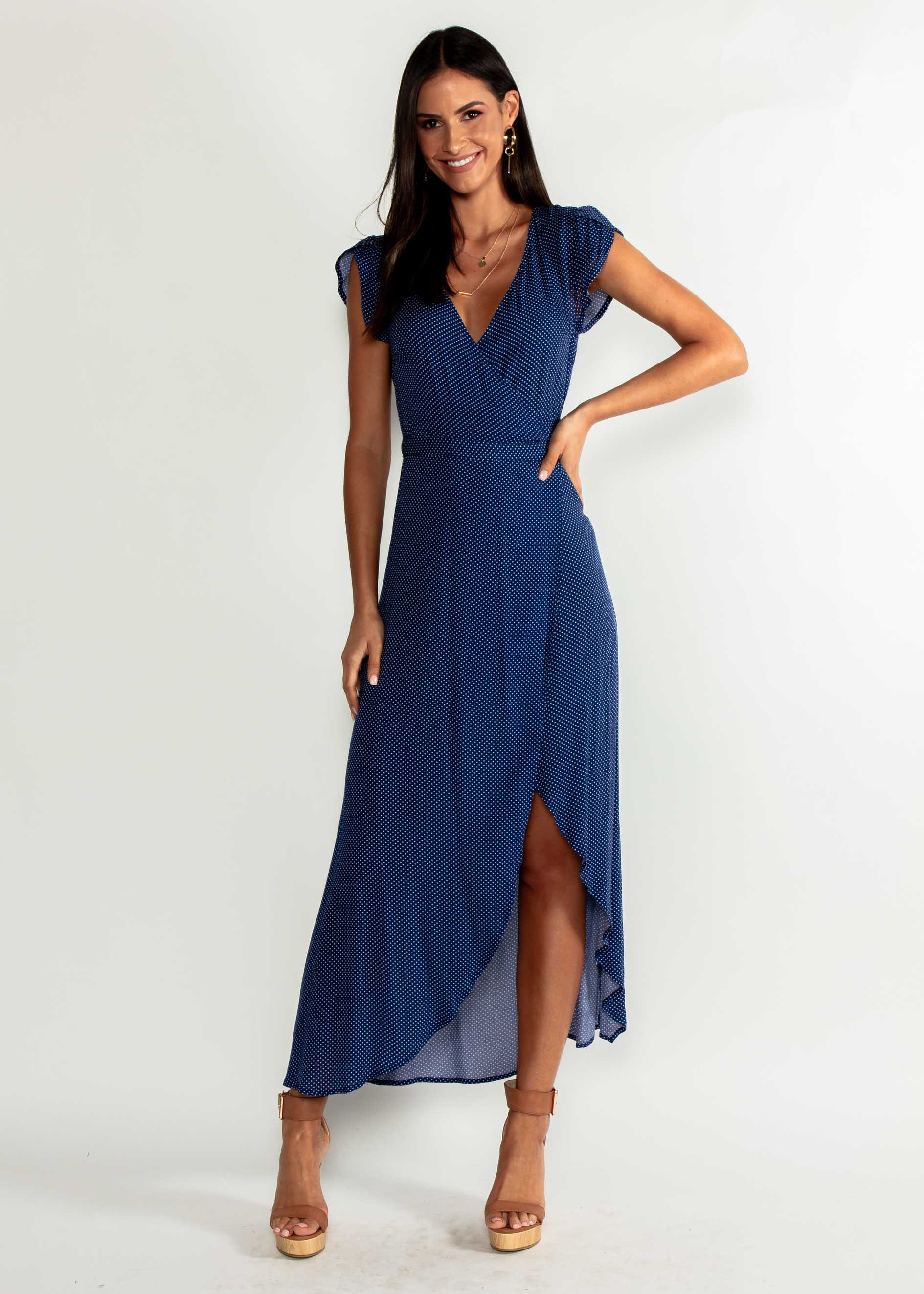 Cortez Maxi Wrap Dress - Navy Polka – Gingham and Heels 7fd12f524