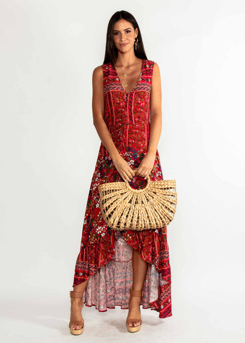 Marsielle Hi-Lo Maxi Dress - Red Floral