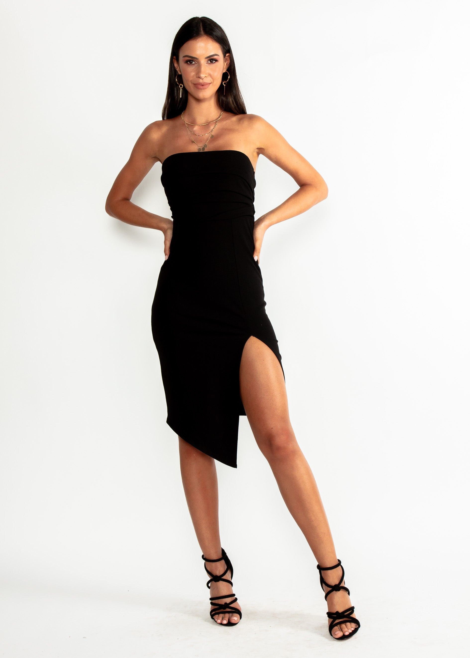 Dynasty Strapless Midi Dress - Black