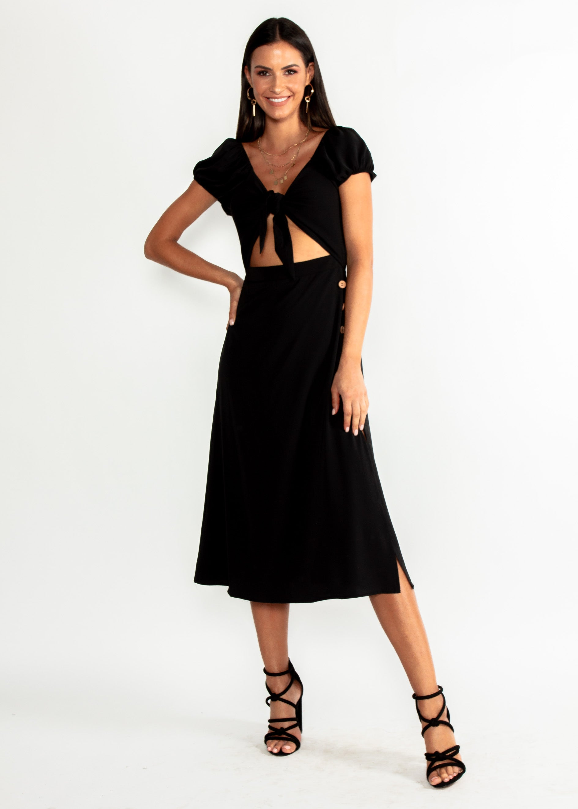 Free Fall Tie Midi Dress - Black