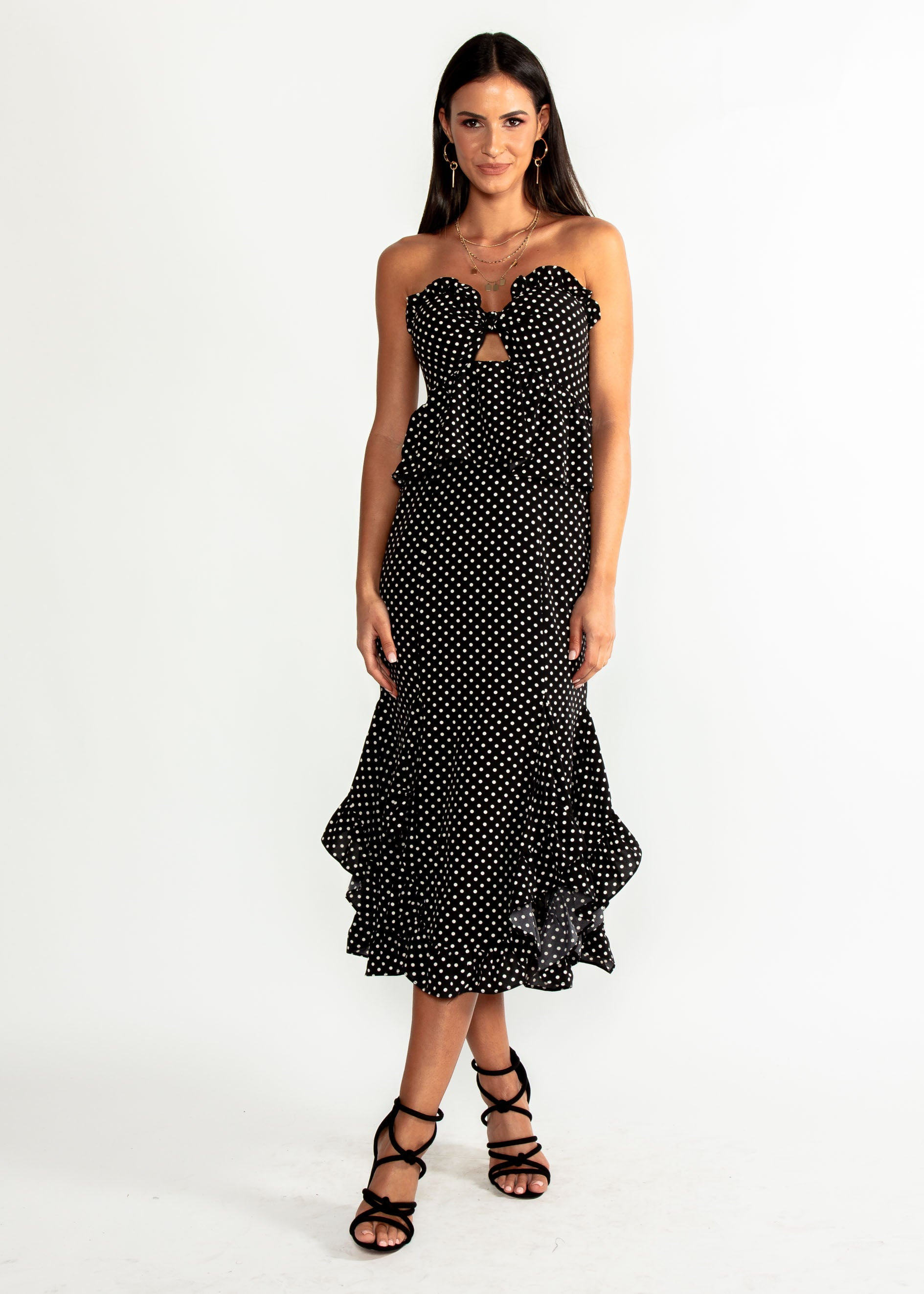 Heiress Strapless Midi Dress - Black Polka