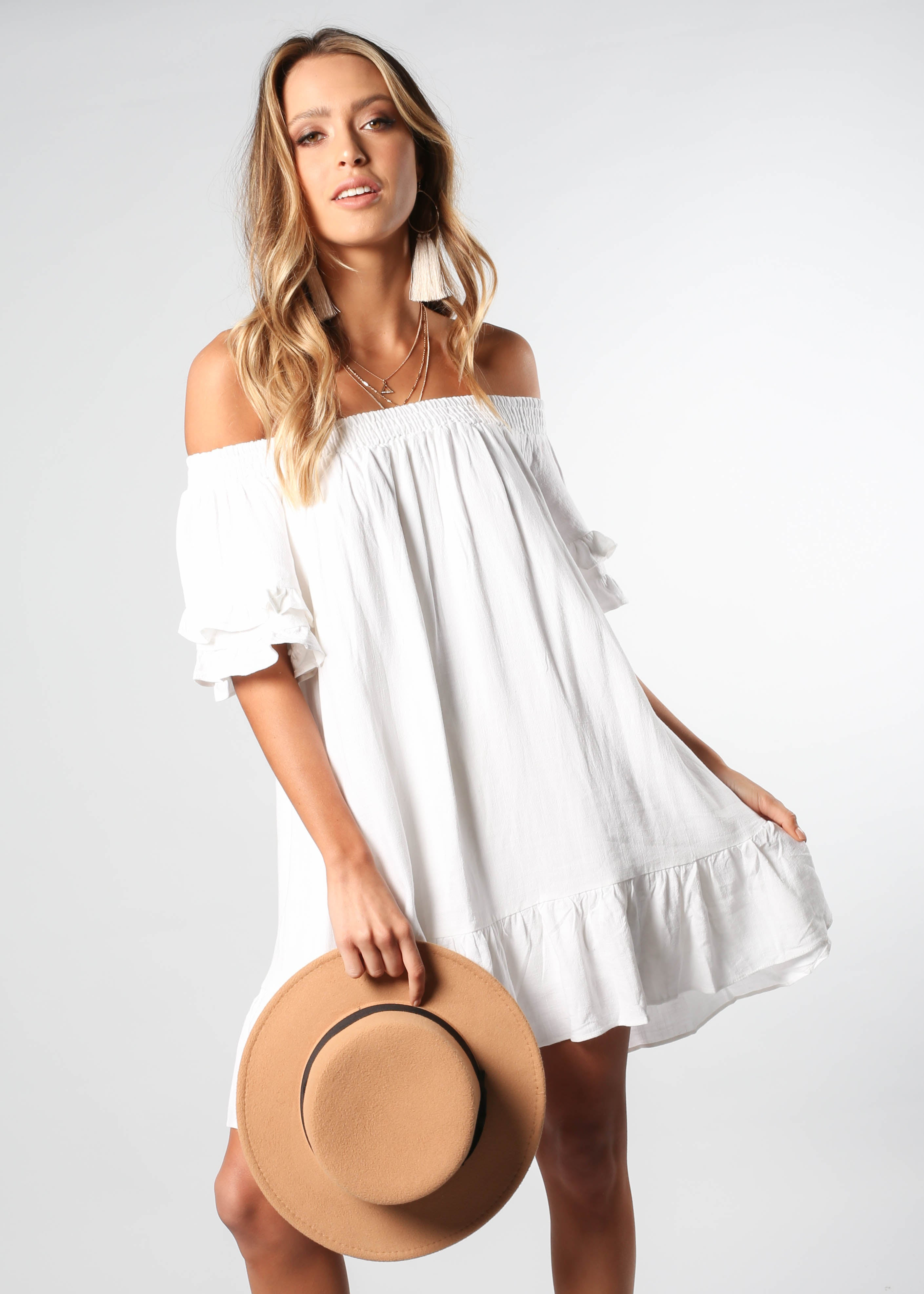 Sweet Sunshine Off Shoulder Dress - White