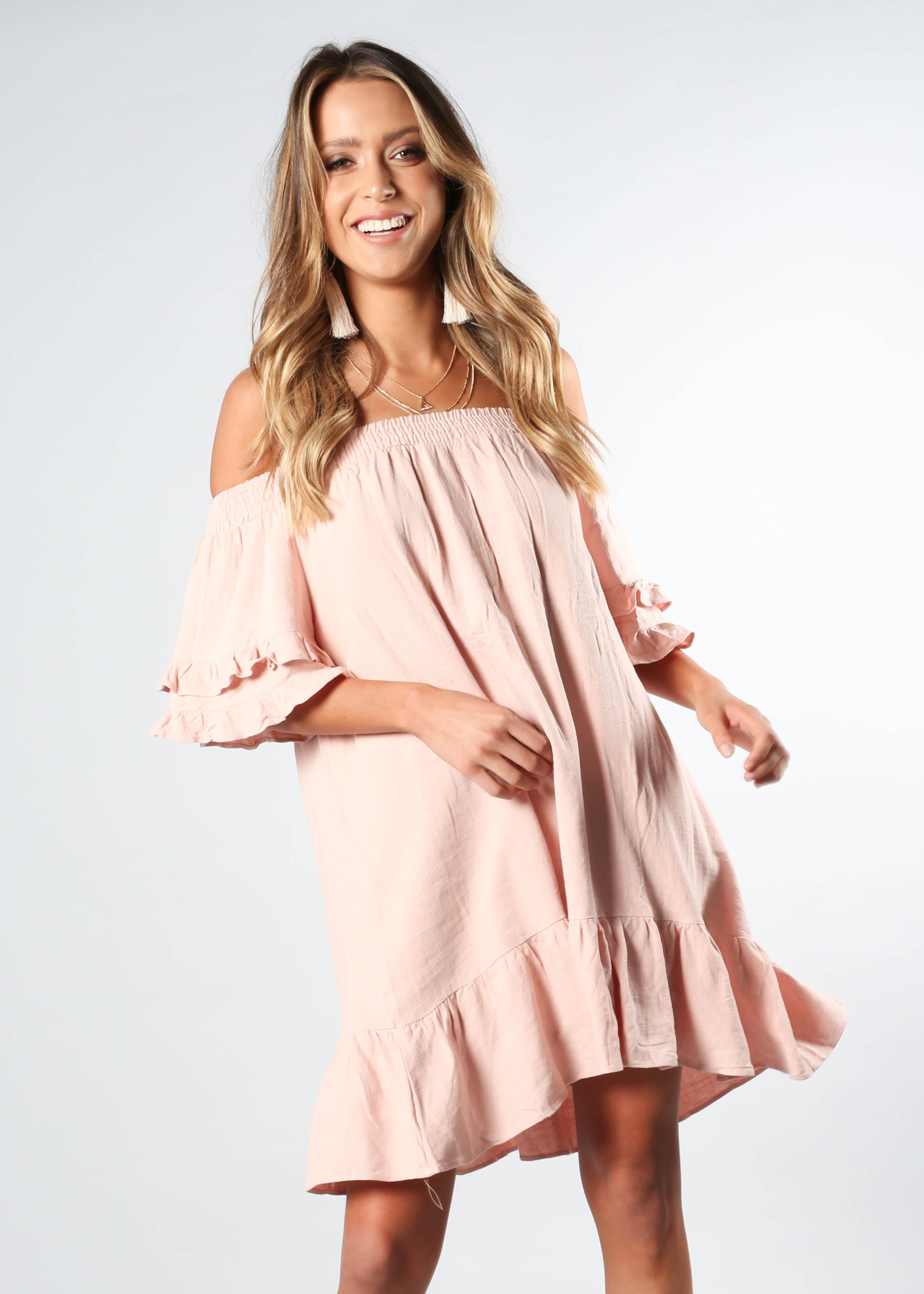 Sweet Sunshine Off Shoulder Dress - Blush