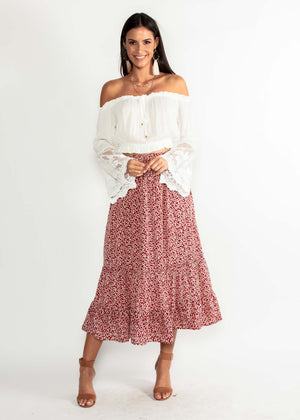 f05104bb6 Run To You Midi Skirt - Red Floral – Gingham and Heels