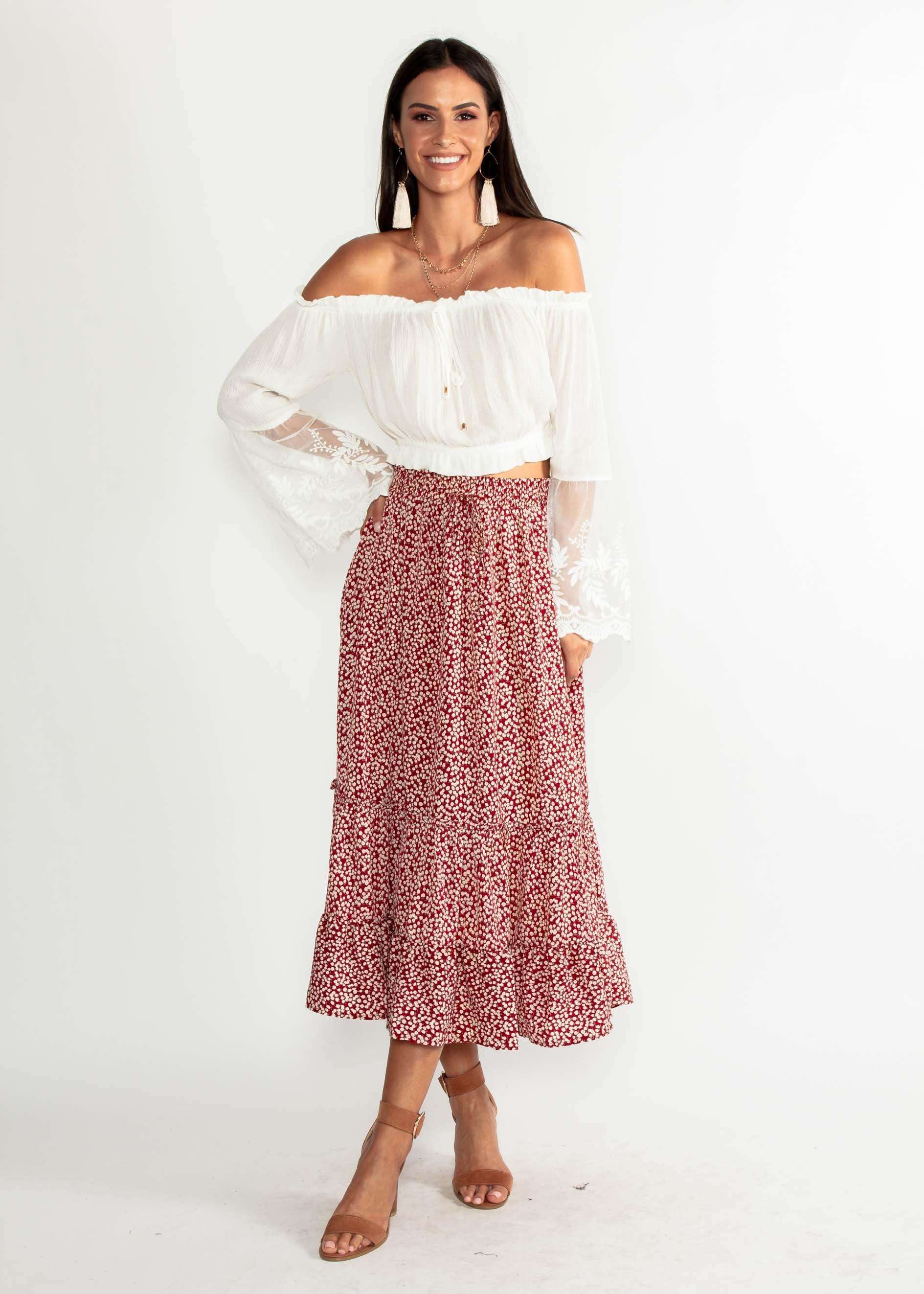 9ad1588dcd Run To You Midi Skirt - Red Floral – Gingham and Heels