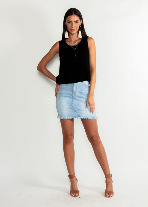 Come Find Me Linen Sleeveless Top - Black