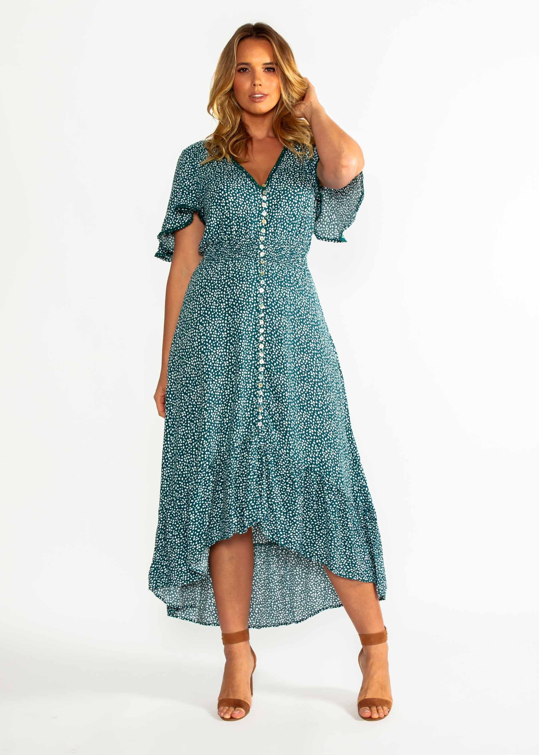 Leaving California Midi Dress - Emerald