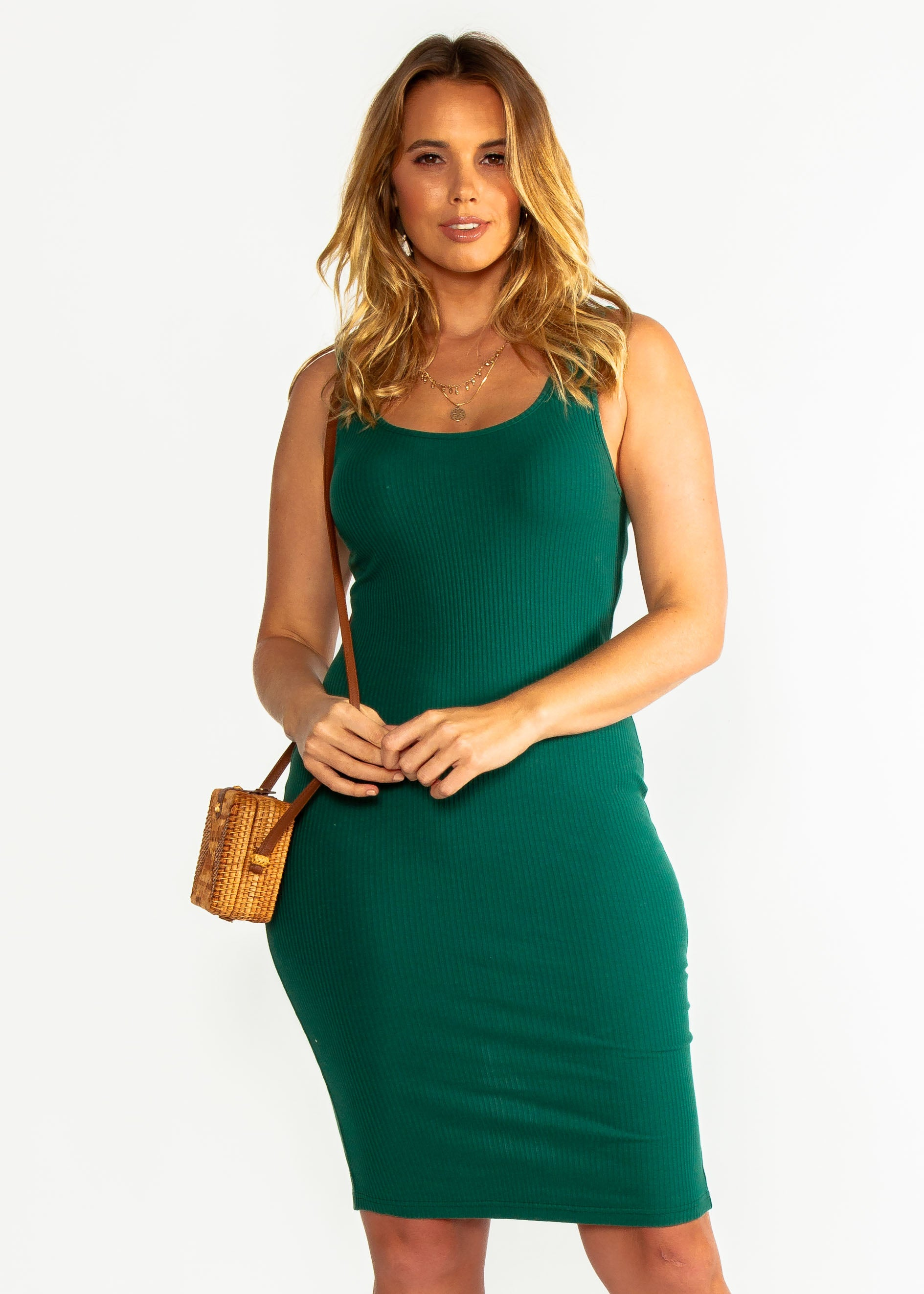 Norah Ribbed Dress - Emerald