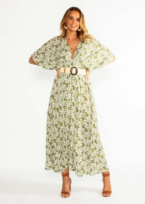 9f223c6a8abad5 Glory Days Maxi Dress - Khaki Floral – Gingham and Heels