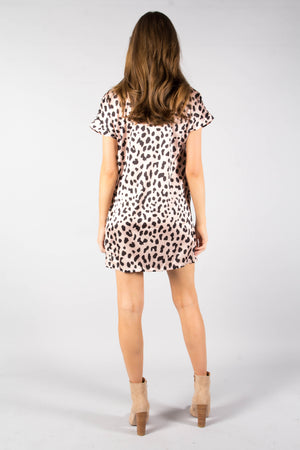 Games We Play Tie Dress - Blush Leopard