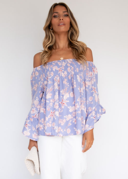 Capaldi Off The Shoulder Blouse - Periwinkle