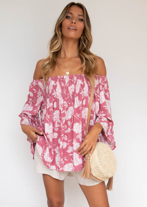 Meira Off The Shoulder Blouse - Boysenberry
