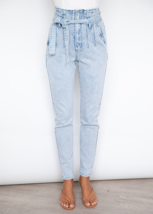 Elliot Paperbag Waist Jeans - Light Blue