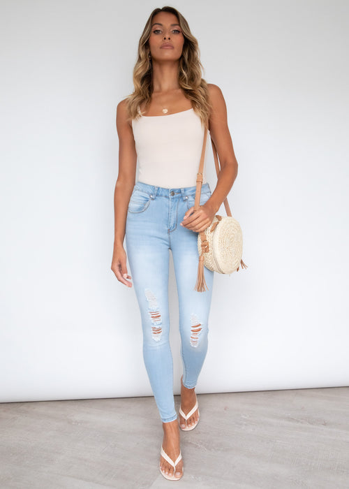 Finley Ripped Booty Shaper Jeans - Light Blue
