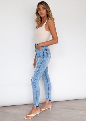 Simba Distressed Jeans - Blue Wash