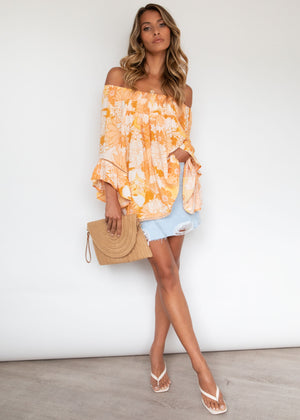 Sugar Night Off Shoulder Top - Sunshine