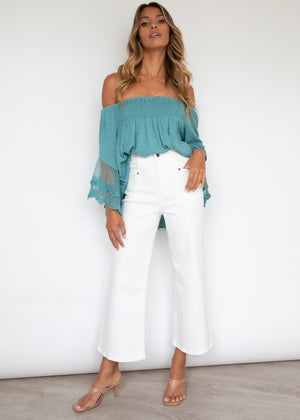 Horizons Off Shoulder Blouse - Teal