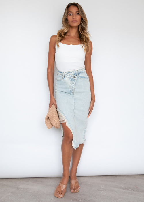 Cora Denim Midi Skirt - Light Blue