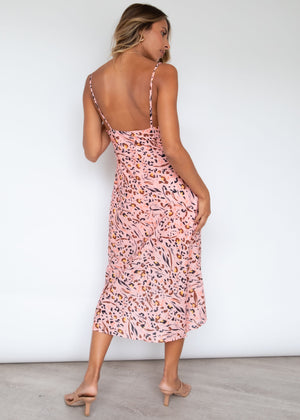 Amany Slip Midi Dress - Peach Leopard