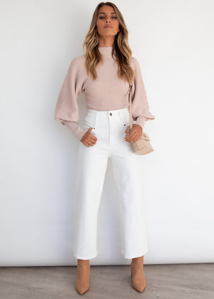 Lori Balloon Sleeve Knit Top - Blush