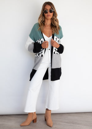 Natural Instinct Cardigan - Teal Leopard