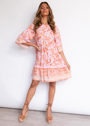 Wilmina Smock Dress - Coral Kisses