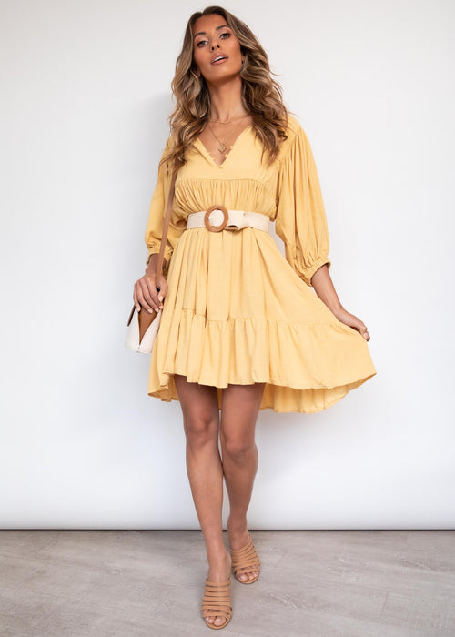 Lost Romance Swing Dress - Mustard