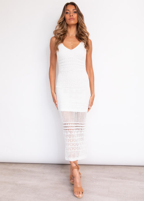 Unlock Love Crotchet Midi Dress - Cream