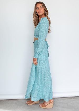 Billions Wrap Dress - Turquoise