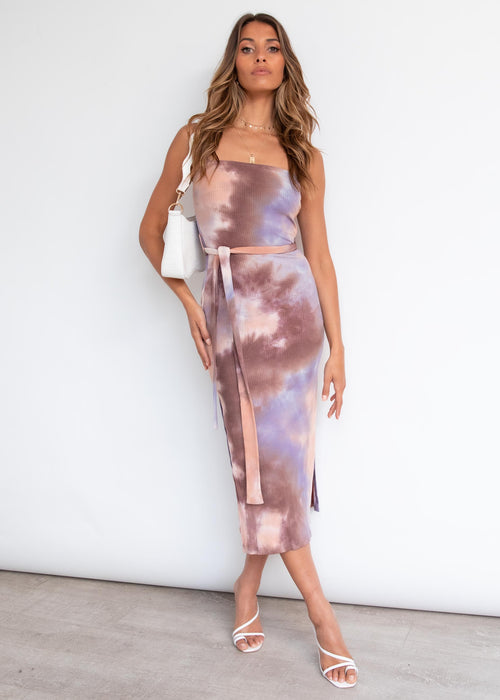 Walking By Midi Dress - Lilac Tie Dye
