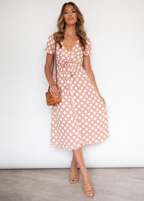 State of Mind Midi Dress - Tan Spot