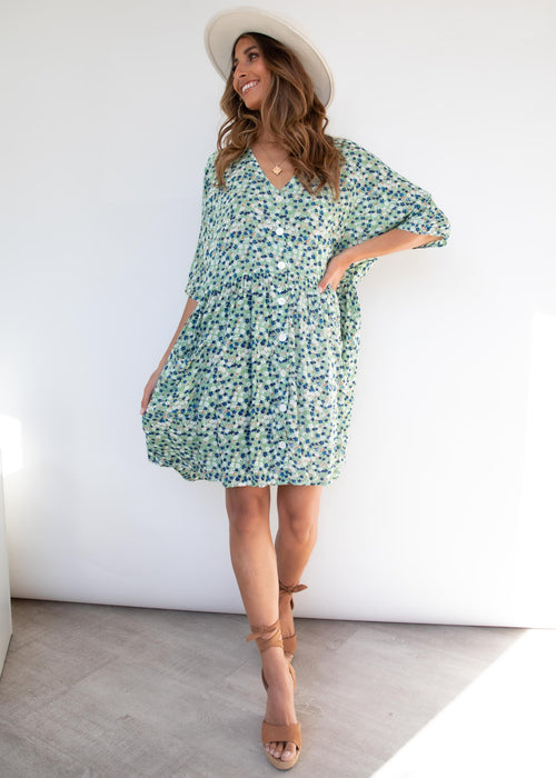 Cerelia Smock Dress - Mint Floral
