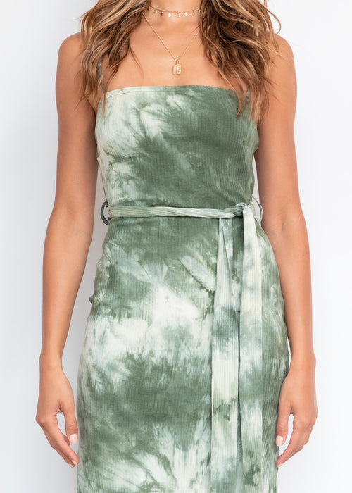 Walking By Midi Dress - Olive Tie Dye