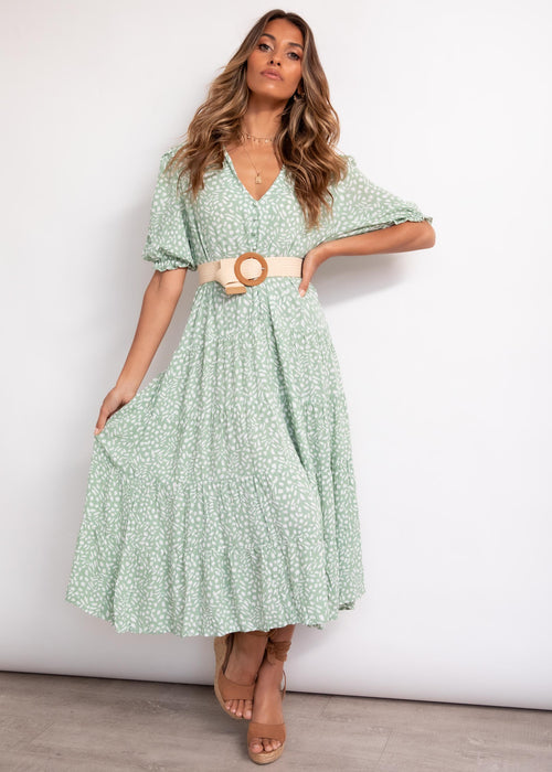 Karsyn Midi Dress - Sage Speck