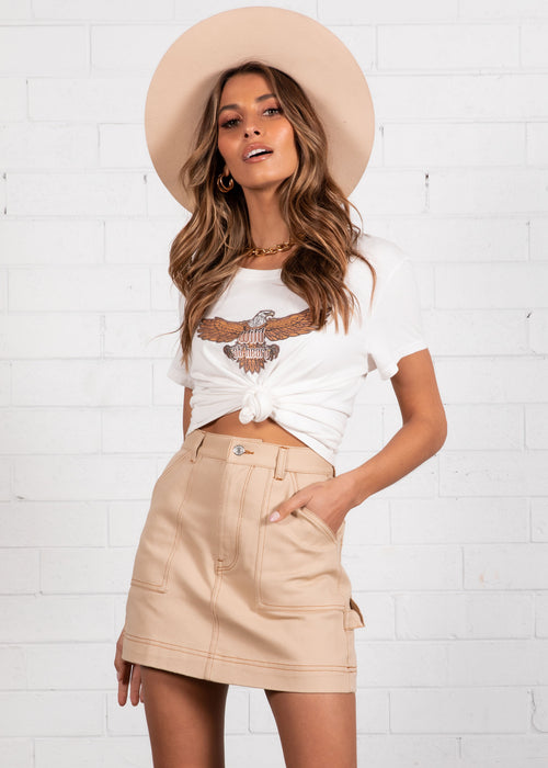 Bradshaw Denim Skirt - Beige