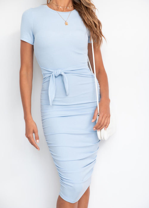 Rider Tie Midi Dress - Powder Blue