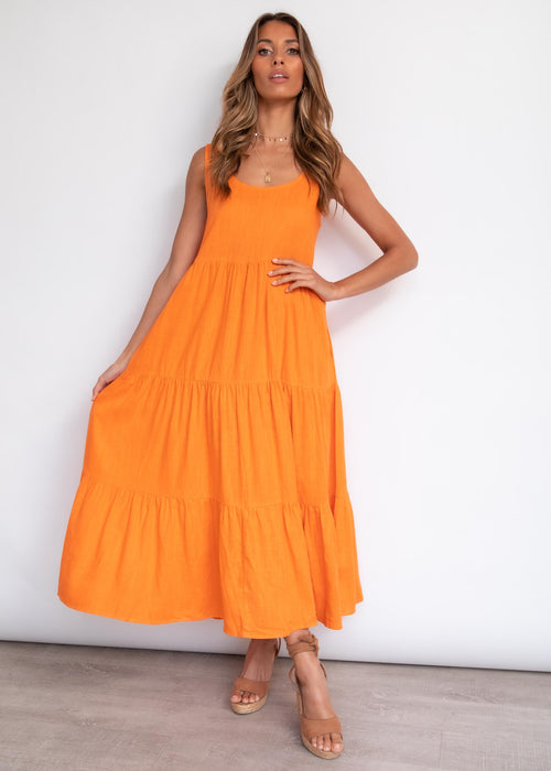 Palm Valley Midi Dress - Mandarine