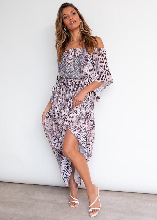 Ever Changing Off Shoulder Maxi Dress - Pink Panther