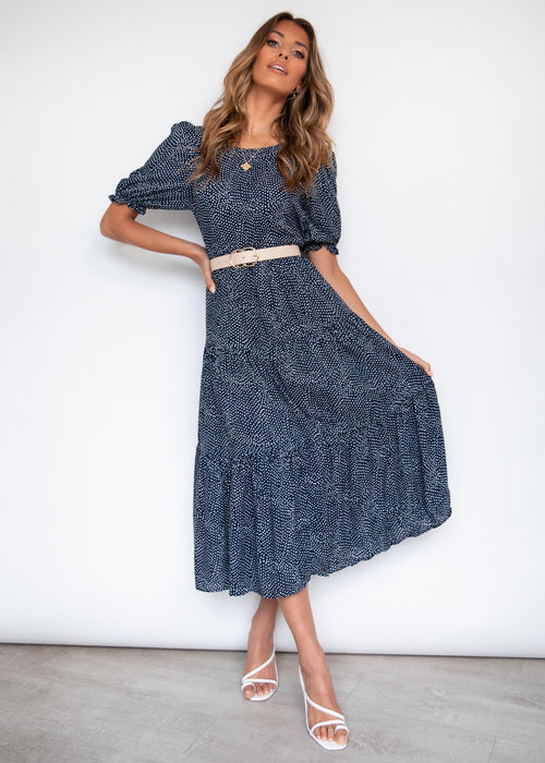 Cosmic Love Midi Dress - Navy Spot