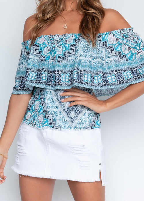 Kandace Off Shoulder Blouse - Aqua Mosaic