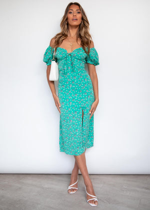 Naida Midi Dress - Green Floral