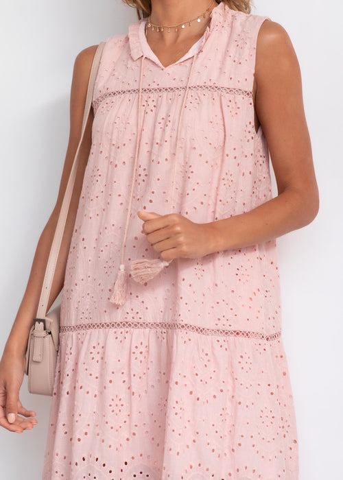 Uptake Anglaise Midi Dress - Blush