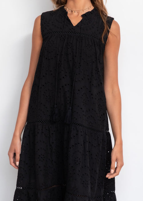 Uptake Anglaise Midi Dress - Black