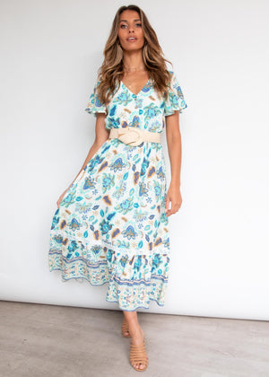 Kazane Maxi Dress - Aqua Paisley