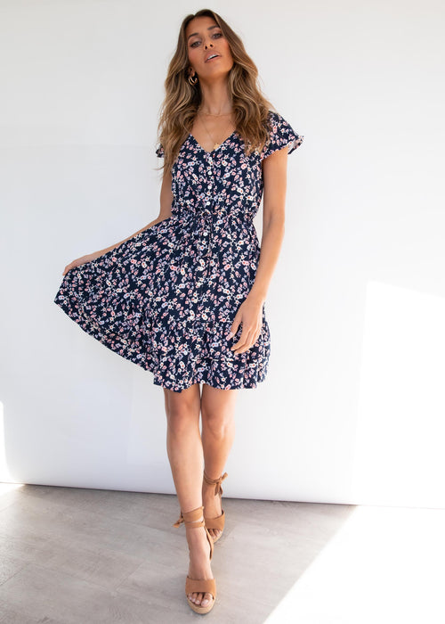 Edon Swing Dress - Navy Floral