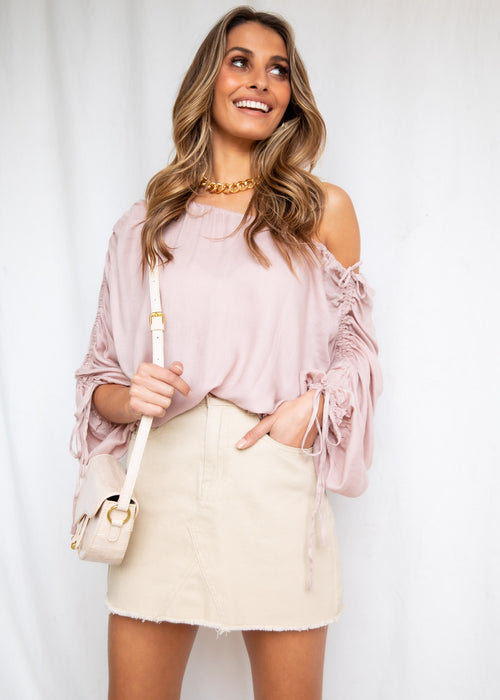 Marjelle Ruched Blouse - Blush