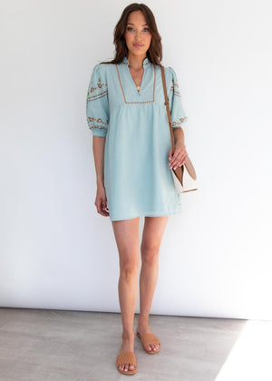 Flame Tree Smock Dress - Sage