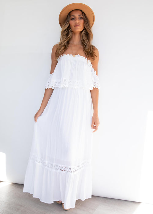 Jaryn Off Shoulder Maxi Dress - White