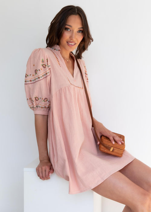 Flame Tree Smock Dress - Blush
